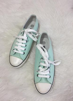 Розпродаж!!! мятні кеди мокасіни з білими шнурками