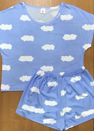 Трикотажная пижама, топ+шорты, костюм для дома облака, размер m / 44-46