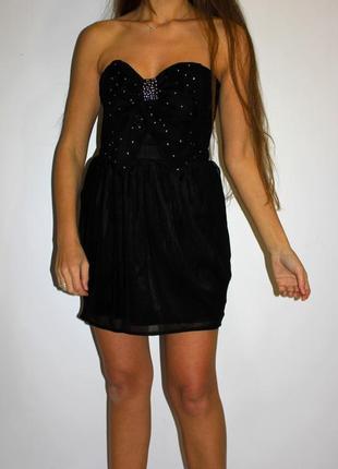 Черное платье бюстье, шифоновое -молния по спинке
