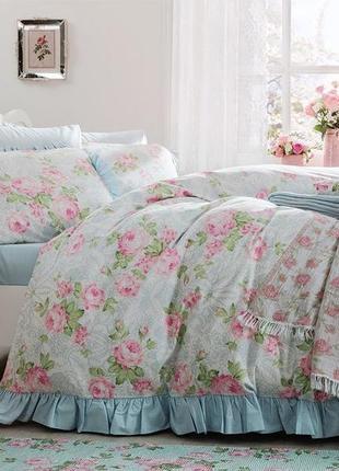 Комплект постельного евро двухспальный в цветочек голубое