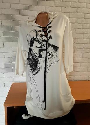 Туника платье с капюшоном трикотажное  польша l ,xl