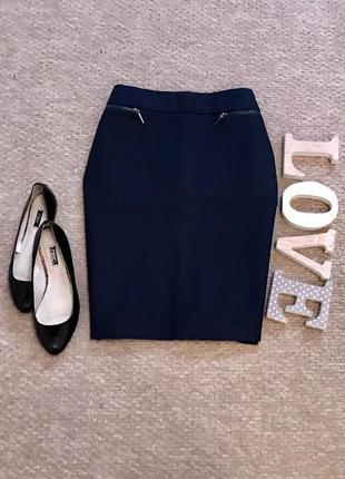 Темно-синяя коттоновая юбка по фигуре