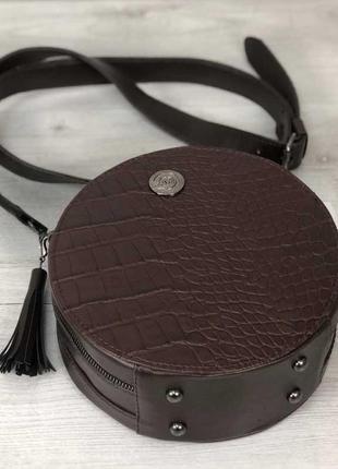 3 цвета! стильная женская круглая сумка коричневый крокодил круглый клатч кругляшка