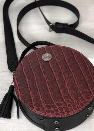 3 цвета! стильная женская круглая сумка красный крокодил круглый клатч кругляшка