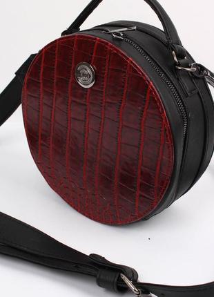 3 цвета! стильная женская круглая сумка красный крокодил круглый клатч кругляшка2