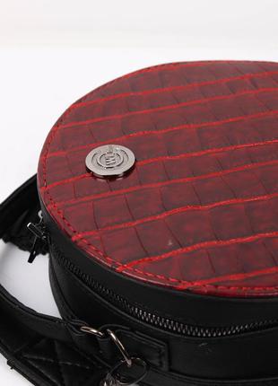 3 цвета! стильная женская круглая сумка красный крокодил круглый клатч кругляшка5