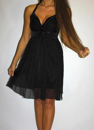 Черное шифоновое вечернее платье , грудь в камнях -- срочная распродажа --