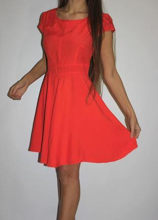 Мандариновое платье, красиво прошито по груди -см доп фото
