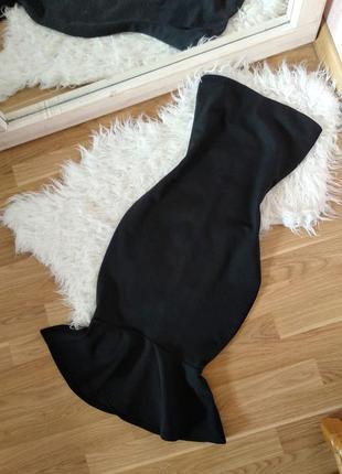 Элегантное черное платье миди карандаш , черное платье рыбка