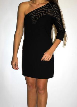 Черное платье на один рукав, очень красивое -- срочная распродажа --