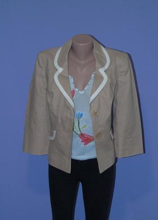 Стильный бежевый пиджак/100% лен