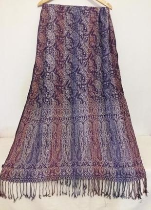 Шикарный палантин(шелк, вискоза ), жаккардовая шаль с ткаными цветами и бахромой
