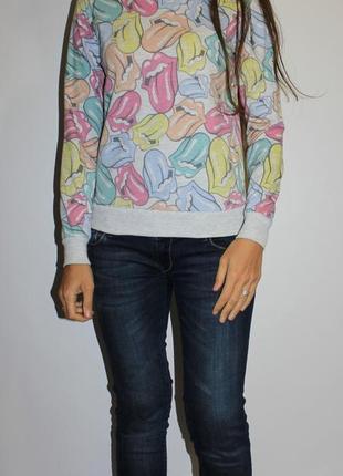 Красивый свишот свитер с языками в стиле rolling stones -- срочная распродажа --
