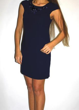 Синее нарядное платье , красивая вышивка на груди -- срочная распродажа --
