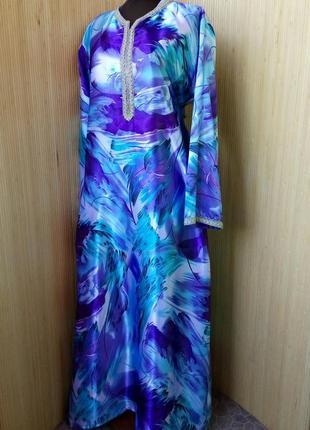 Атласное длинное платье рубашка / абая / галабея