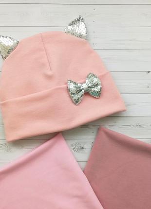 Комплект весна шапка и снуд с ушками