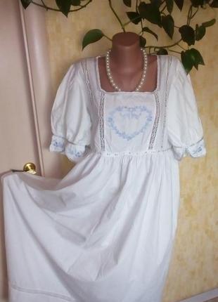 Индия!кружевная хлопковая сорочка с вышивками/ночнушка/ночная рубашка/платье