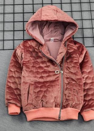 Детская косуха, куртка демисезонная для девочки 2-3 года, велюр