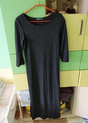 Длинная туника платье красивого темного серого цвета