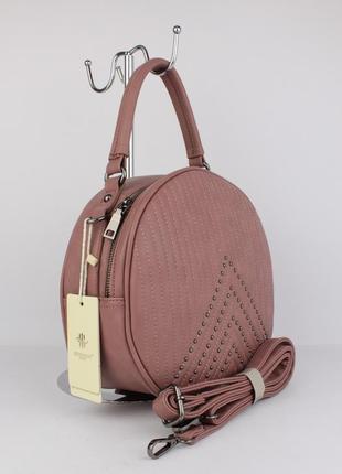 Полукруглая средняя женская сумочка herisson firenze 2302 пудра, италия