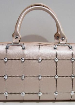 Женская каркасная сумка (пудра) 19-02-032
