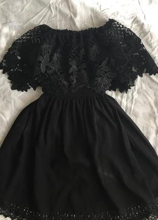 Платье миди вечернее нарядное праздничное кружево с открытыми плечами коттон