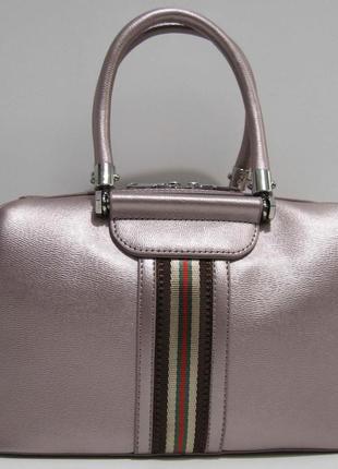 Женская каркасная сумка (розово-бронзовая) 19-02-033