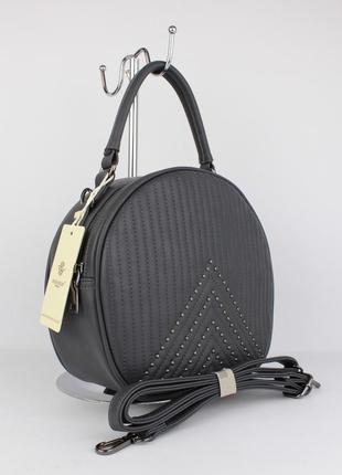 Полукруглая средняя женская сумочка herisson firenze 2302 серая, италия