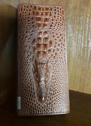 Кожаный женский кошелёк натуральная кожа крокодил + подарок сыворотка для волос