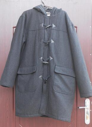 Стильное фирменное мужское пальто с капюшоном petroleum, размер l (52-54)