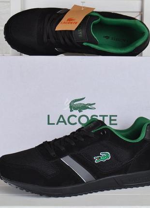 Кроссовки мужские замшевые сеточные lacoste вьетнам черные с зеленым
