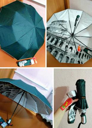 Зонт полуавтомат внутри рисунок на серебре, зелёный,10спиц антиветер