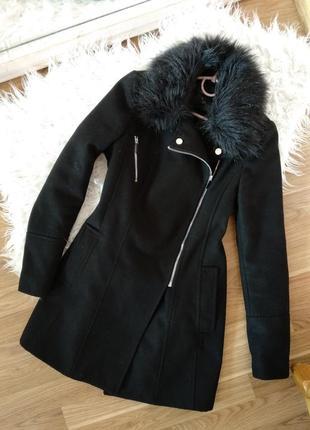 Черное демисезонное пальто косуха со съемным мехом, осенние пальто