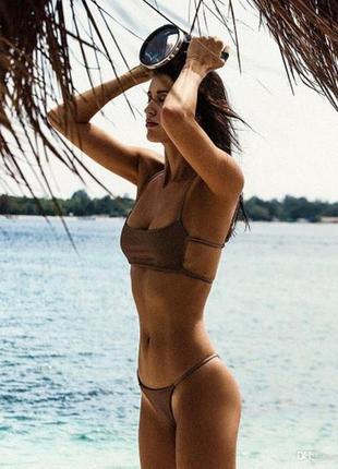 Купальник раздельный бандо плавки стринги коричневый