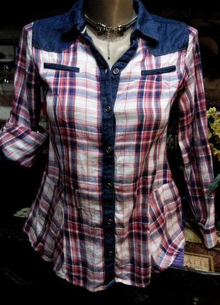 Комбинированная рубашка блузка в клетку с баской