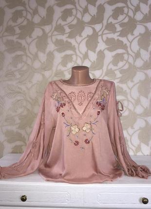 River island   блузка с вышивкой с разрезами на рукавах