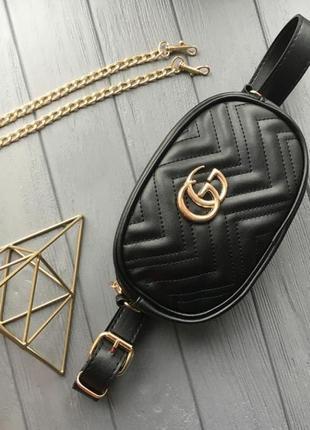 Женская поясная сумка на пояс  черная