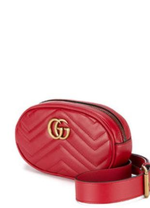 Женская поясная сумка на пояс красная