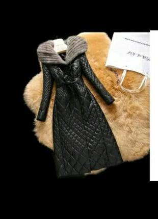 Потрясающее кожаное пальто с капюшоном из норки!