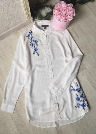 Красивенная блуза-рубашка с вышивкой удлиненная