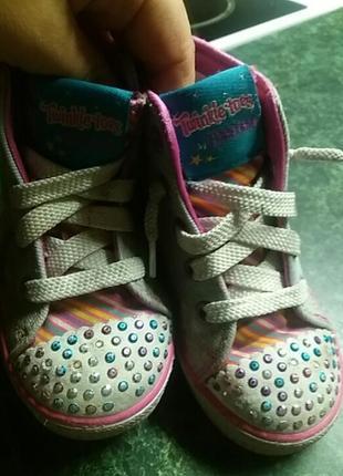 Кеды кроссовки девочке  skechers светящиеся с мигалками