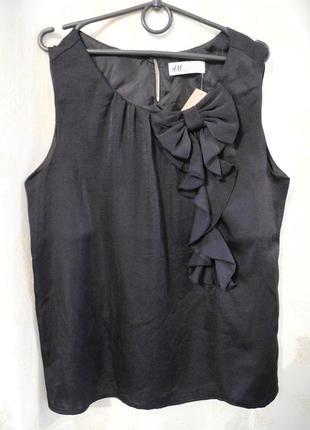 Акция 2 по цене 1!блуза черная атласная, топ, майка с бантом h&m, размер xs