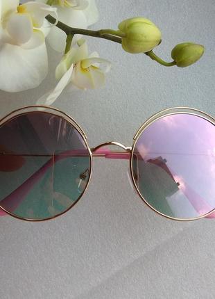 Новые красивые солнцезащитные очки круглые, розовая пудра