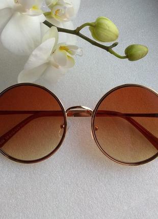 New 2019! новые модные солнцезащитные очки круглые, коричневые