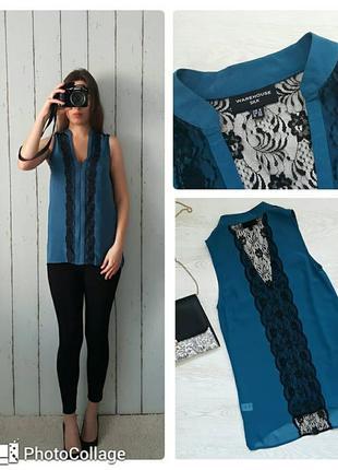 Шелковая нарядная блуза с кружевом