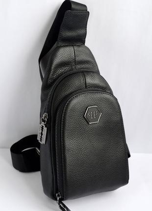 e93b259745b0 Мужская кожаная сумка-слинг, сумка-мессенджер через плечо philipp plein