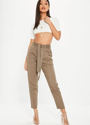 Брюки из джинсовой ткани с поясом1 фото