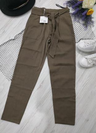Брюки из джинсовой ткани с поясом2 фото