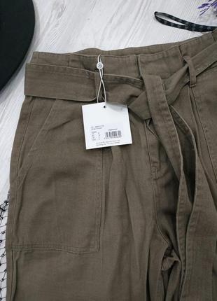 Брюки из джинсовой ткани с поясом4 фото