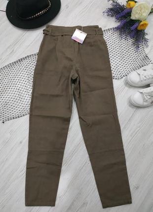 Брюки из джинсовой ткани с поясом3 фото